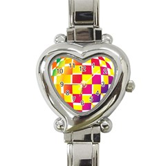 Squares Colored Background Heart Italian Charm Watch