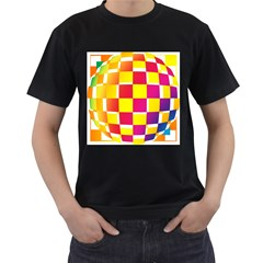 Squares Colored Background Men s T-Shirt (Black) (Two Sided)