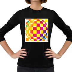 Squares Colored Background Women s Long Sleeve Dark T-Shirts