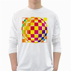 Squares Colored Background White Long Sleeve T Shirts