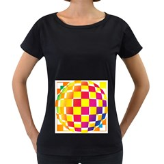 Squares Colored Background Women s Loose-Fit T-Shirt (Black)