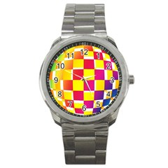 Squares Colored Background Sport Metal Watch