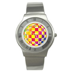 Squares Colored Background Stainless Steel Watch