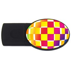 Squares Colored Background Usb Flash Drive Oval (4 Gb)