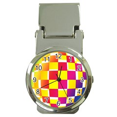 Squares Colored Background Money Clip Watches