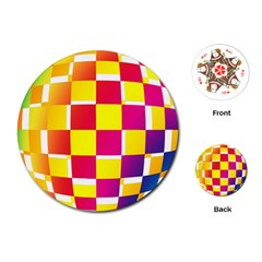 Squares Colored Background Playing Cards (Round)