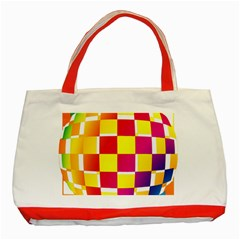 Squares Colored Background Classic Tote Bag (red)