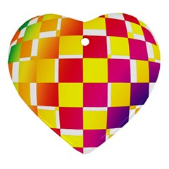 Squares Colored Background Heart Ornament (Two Sides)