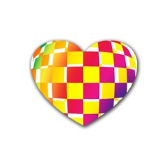 Squares Colored Background Heart Coaster (4 Pack)