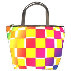 Squares Colored Background Bucket Bags