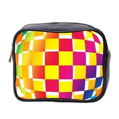 Squares Colored Background Mini Toiletries Bag 2 Side