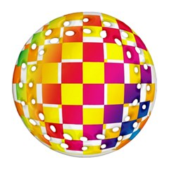 Squares Colored Background Round Filigree Ornament (Two Sides)