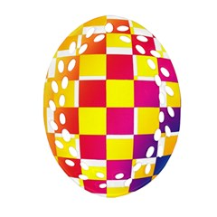 Squares Colored Background Ornament (Oval Filigree)