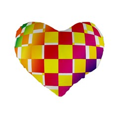 Squares Colored Background Standard 16  Premium Heart Shape Cushions