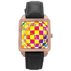 Squares Colored Background Rose Gold Leather Watch