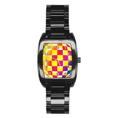 Squares Colored Background Stainless Steel Barrel Watch
