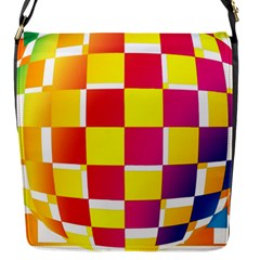 Squares Colored Background Flap Messenger Bag (S)