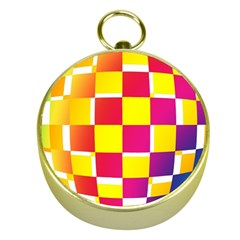 Squares Colored Background Gold Compasses