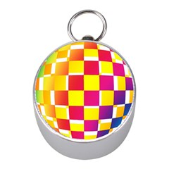 Squares Colored Background Mini Silver Compasses