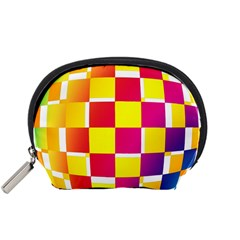 Squares Colored Background Accessory Pouches (Small)