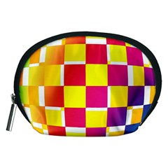 Squares Colored Background Accessory Pouches (Medium)