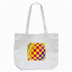 Squares Colored Background Tote Bag (White)