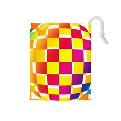 Squares Colored Background Drawstring Pouches (Medium)