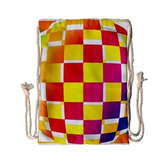 Squares Colored Background Drawstring Bag (small)