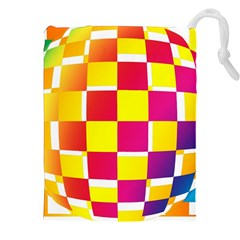 Squares Colored Background Drawstring Pouches (XXL)