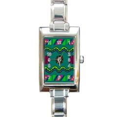 A Colorful Modern Illustration Rectangle Italian Charm Watch