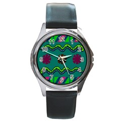 A Colorful Modern Illustration Round Metal Watch