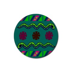 A Colorful Modern Illustration Rubber Coaster (Round)