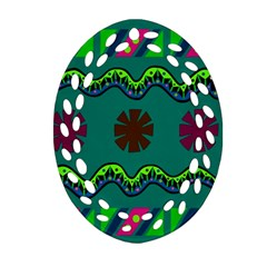A Colorful Modern Illustration Oval Filigree Ornament (Two Sides)