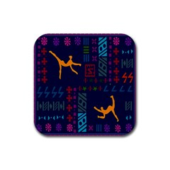 A Colorful Modern Illustration For Lovers Rubber Coaster (Square)