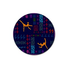 A Colorful Modern Illustration For Lovers Rubber Round Coaster (4 Pack)
