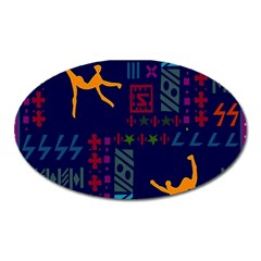 A Colorful Modern Illustration For Lovers Oval Magnet