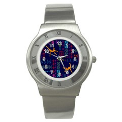 A Colorful Modern Illustration For Lovers Stainless Steel Watch