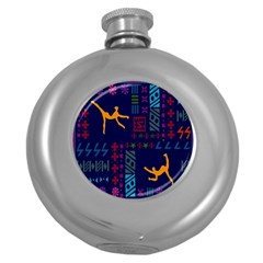 A Colorful Modern Illustration For Lovers Round Hip Flask (5 Oz)