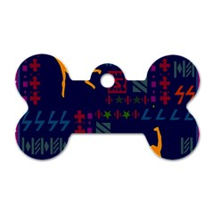 A Colorful Modern Illustration For Lovers Dog Tag Bone (one Side)