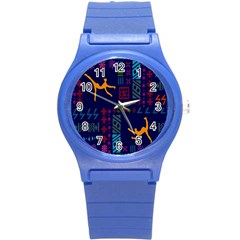 A Colorful Modern Illustration For Lovers Round Plastic Sport Watch (S)