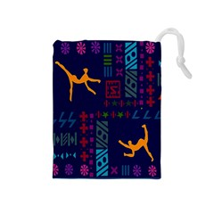 A Colorful Modern Illustration For Lovers Drawstring Pouches (Medium)