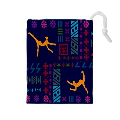 A Colorful Modern Illustration For Lovers Drawstring Pouches (Large)