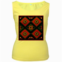 Abstract A Colorful Modern Illustration Women s Yellow Tank Top
