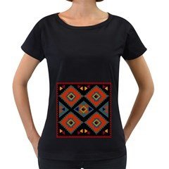 Abstract A Colorful Modern Illustration Women s Loose-Fit T-Shirt (Black)
