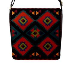 Abstract A Colorful Modern Illustration Flap Messenger Bag (L)