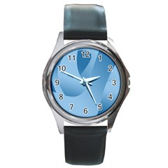 Abstract Blue Background Swirls Round Metal Watch