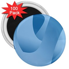 Abstract Blue Background Swirls 3  Magnets (100 Pack)
