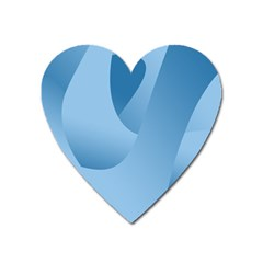 Abstract Blue Background Swirls Heart Magnet