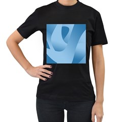 Abstract Blue Background Swirls Women s T Shirt (black) (two Sided)