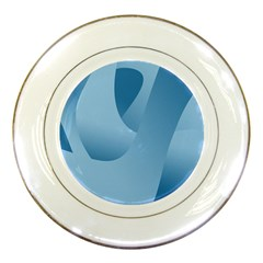 Abstract Blue Background Swirls Porcelain Plates